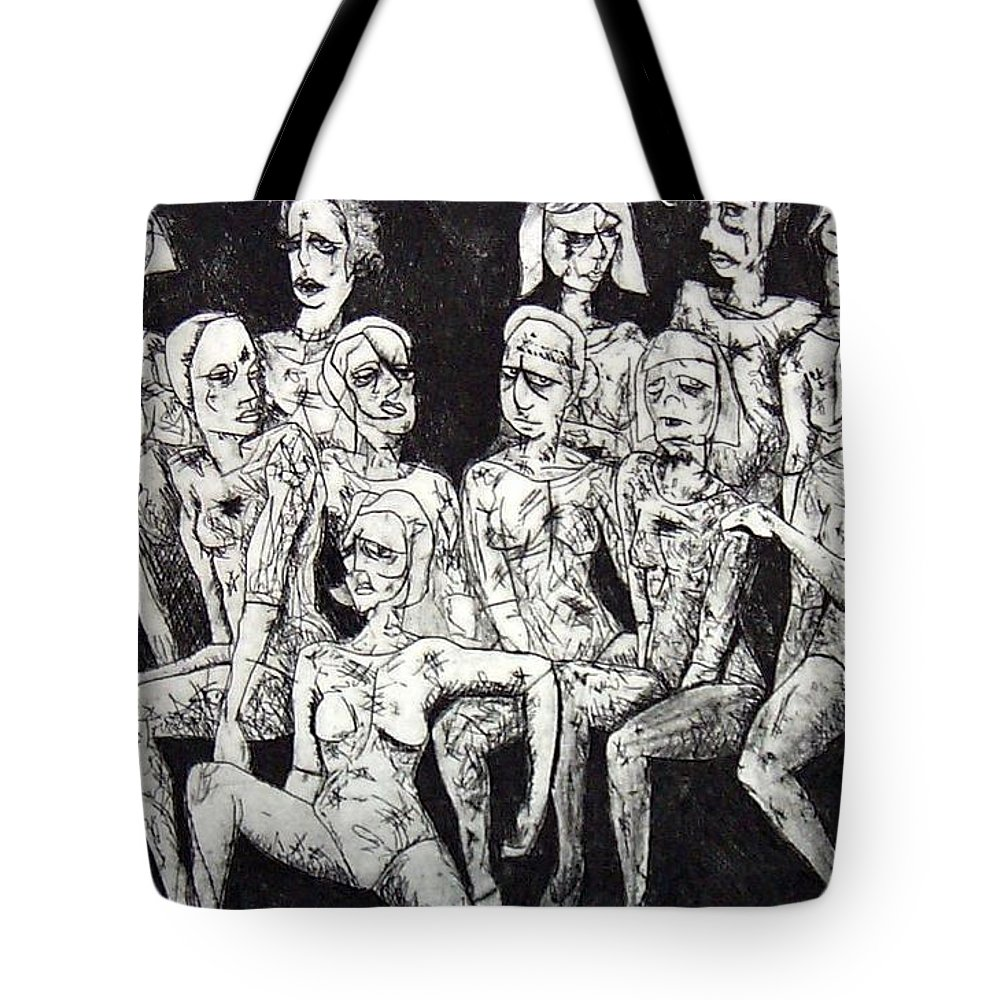 Etching Tote Bag featuring the print Ugly Girls by Thomas Valentine