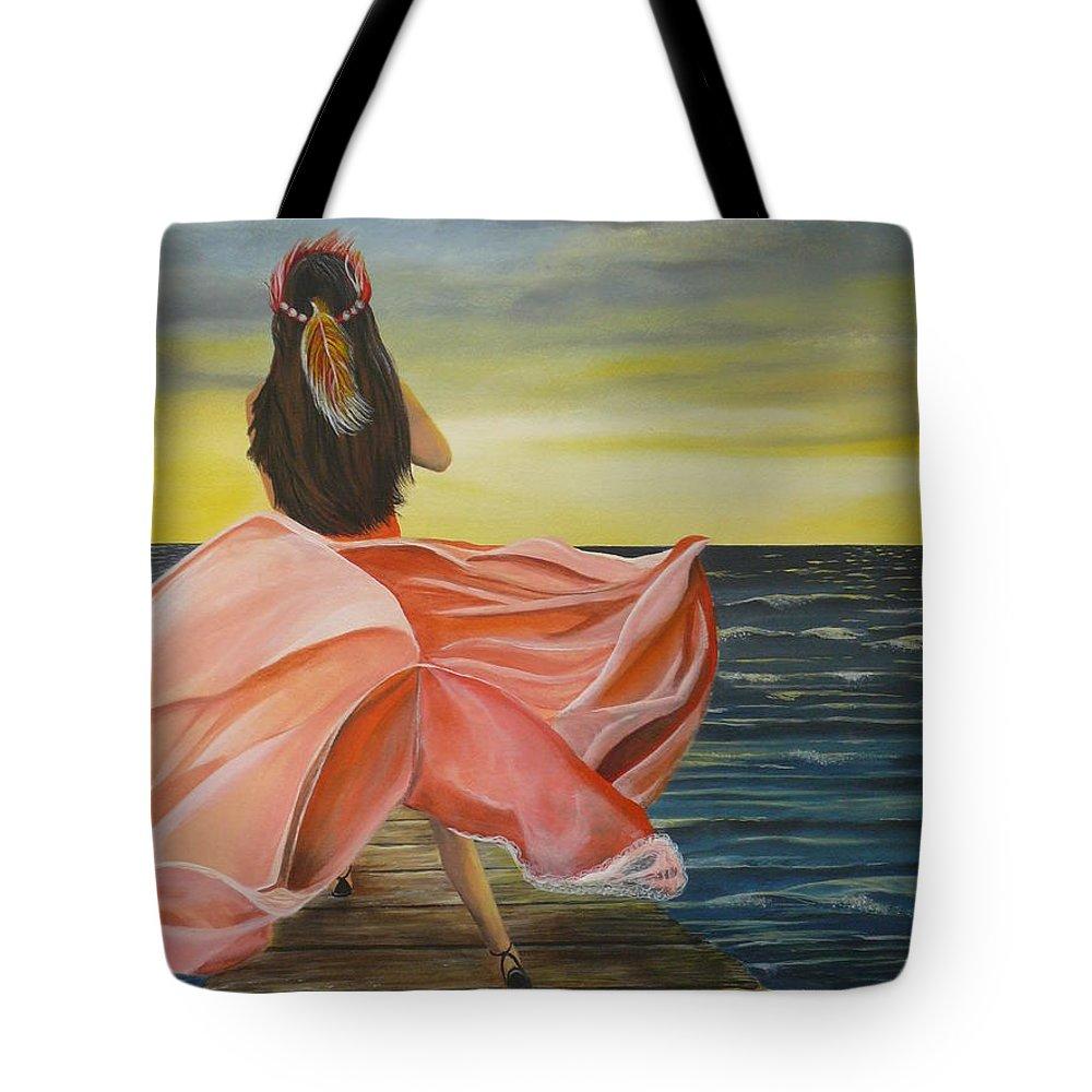 Sunset Tote Bag featuring the painting Uhane O Ka Welo by Kris Crollard