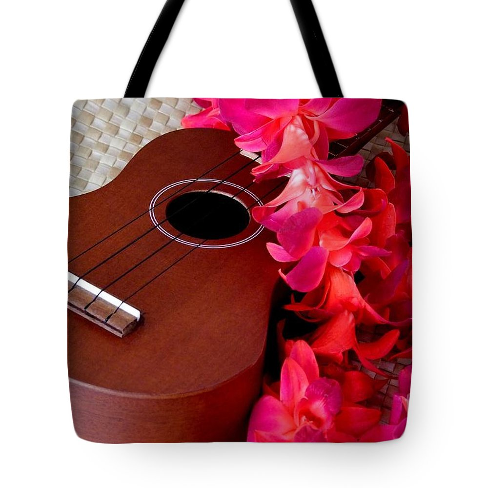 Ukulele Tote Bag featuring the photograph Ukulele And Red Flower Lei by Mary Deal