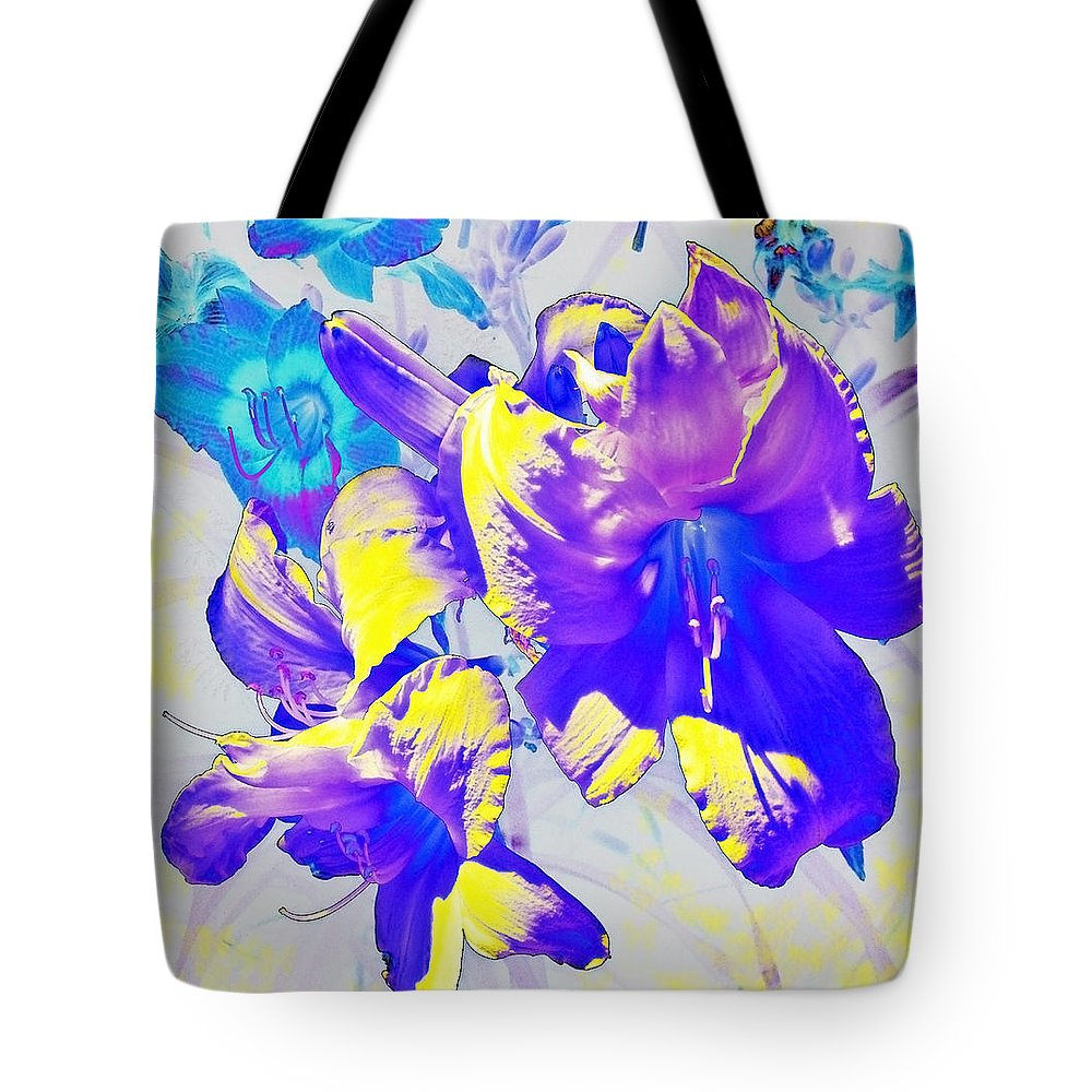 Ultraviolet Color Tote Bag featuring the photograph Ultraviolet Daylilies by Shawna Rowe