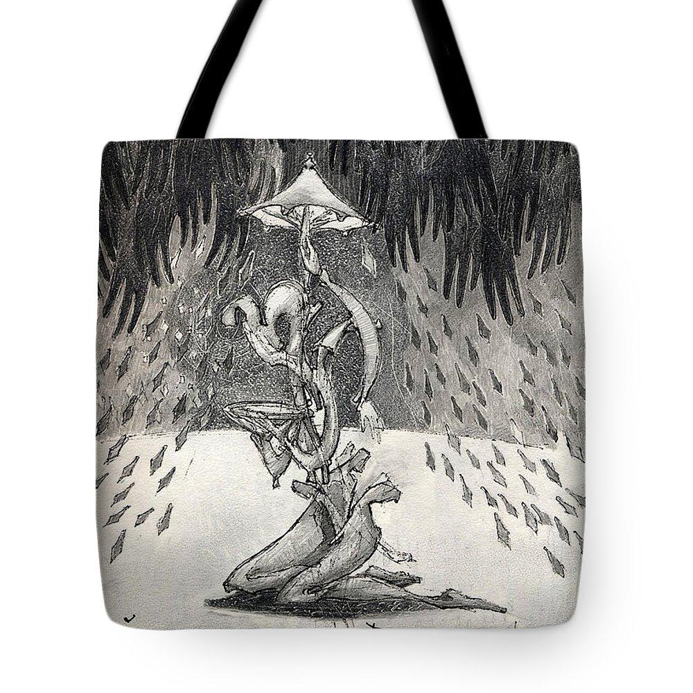 Umbrella Tote Bag featuring the drawing Umbrella Moon by Juel Grant