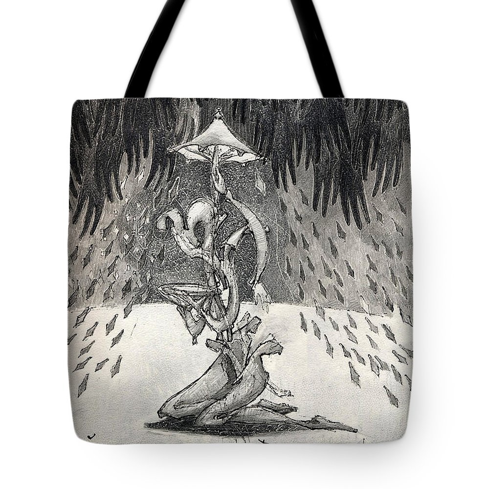 Umbrella Tote Bag featuring the drawing Umbrella Moon by Juel Grant