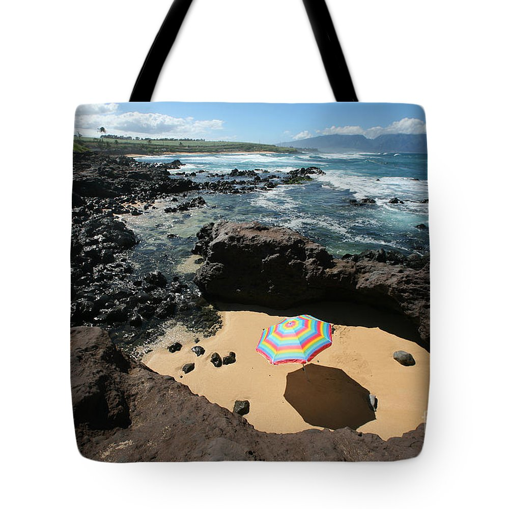 Afternoon Tote Bag featuring the photograph Umbrella On Beach by Ron Dahlquist - Printscapes