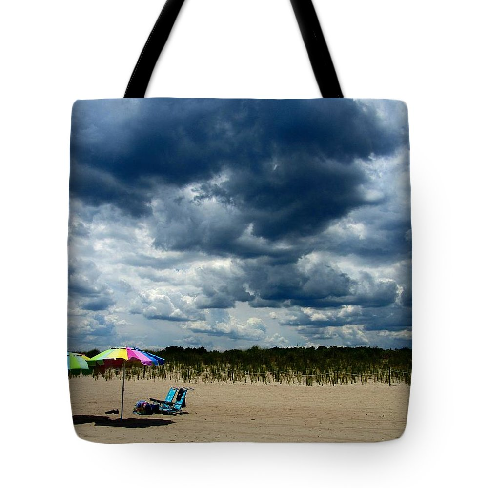 Rehoboth Beach Photography Tote Bag featuring the photograph Umbrellas by Jeffrey Todd Moore