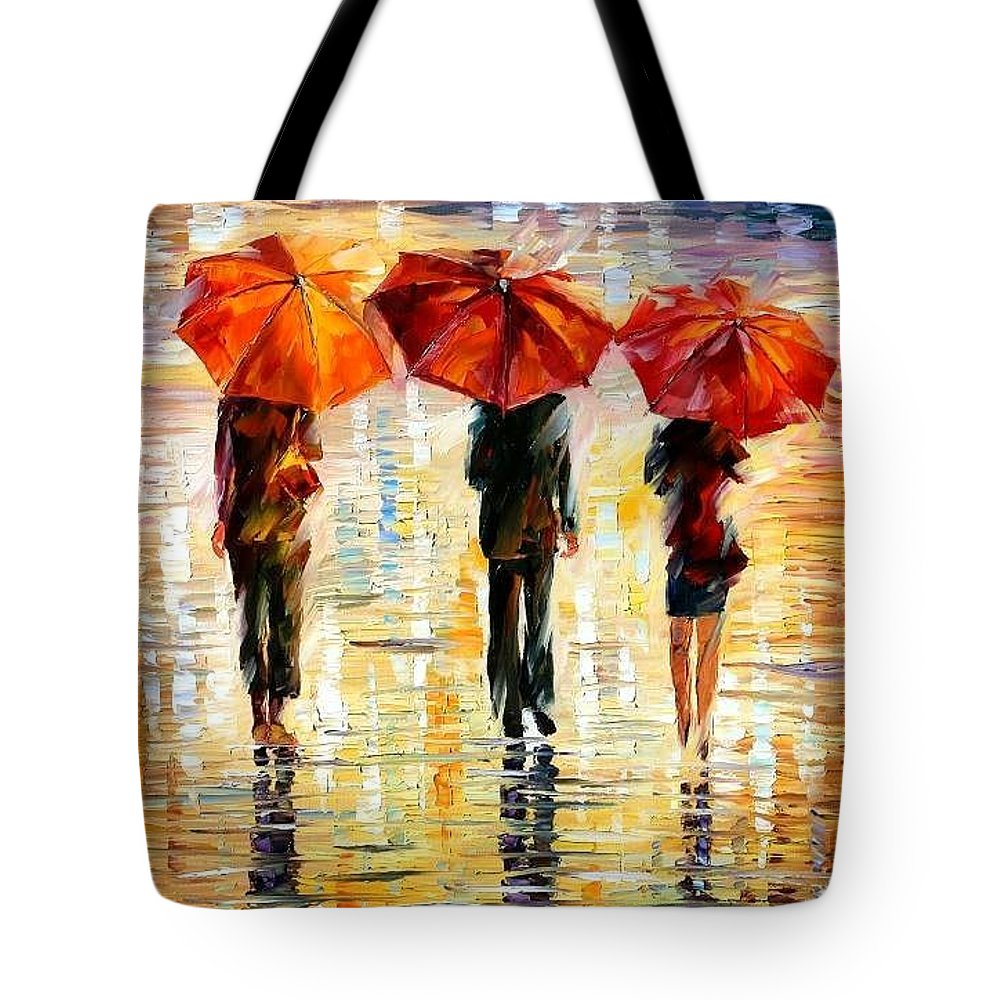 People Tote Bag featuring the painting Umbrellas by Leonid Afremov