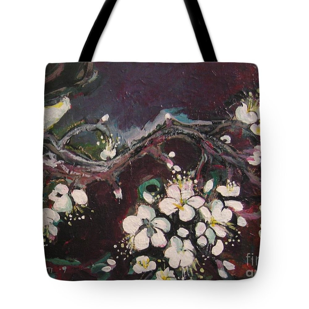 Ume Blossoms Paintings Tote Bag featuring the painting Ume Blossoms by Seon-Jeong Kim
