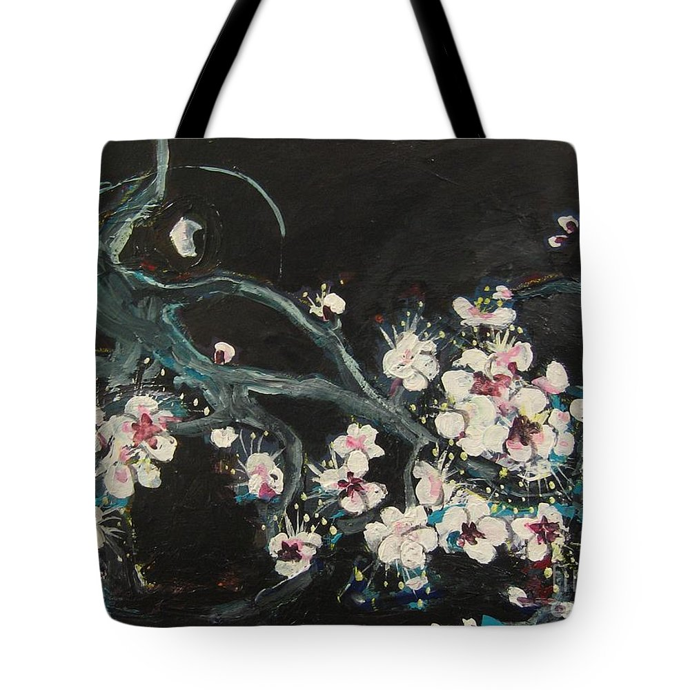 Ume Blossoms Paintings Tote Bag featuring the painting Ume Blossoms2 by Seon-Jeong Kim