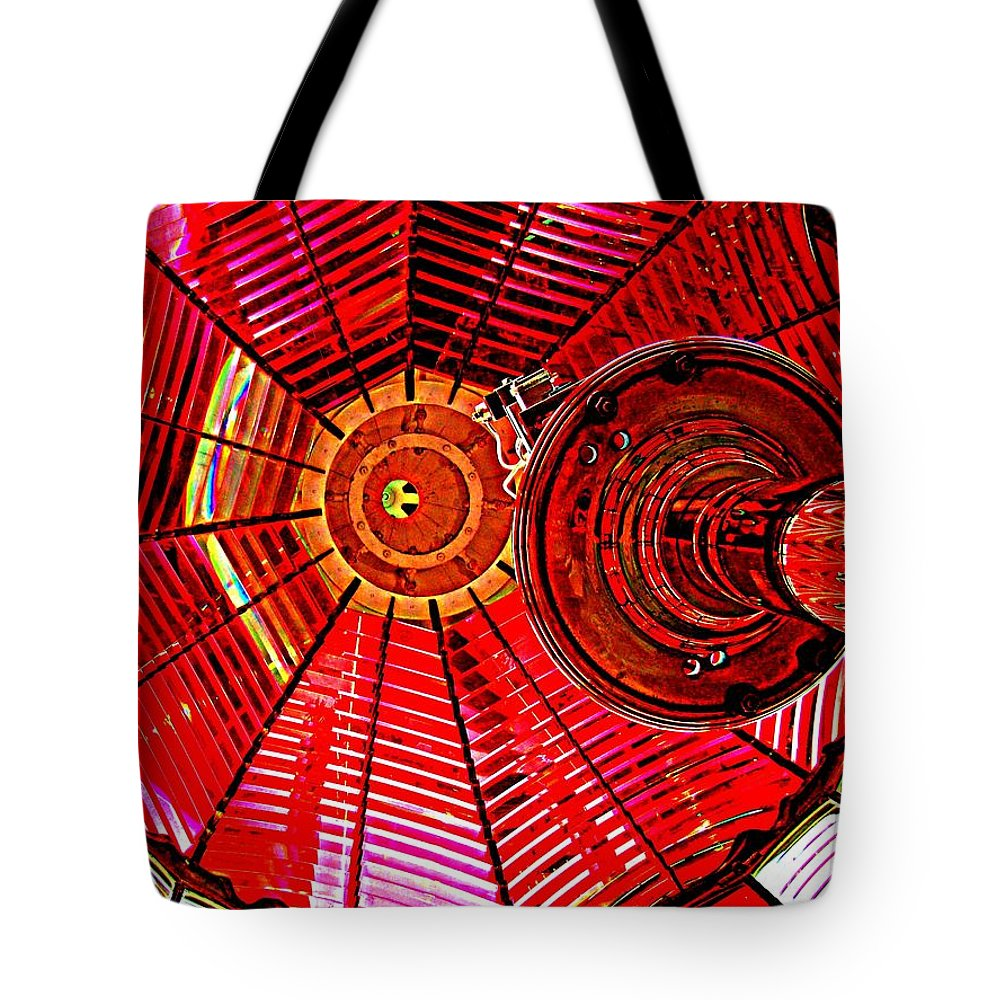 Lighthouse Tote Bag featuring the photograph Umpqua River Lighthouse Lens In Hdr by Nick Kloepping