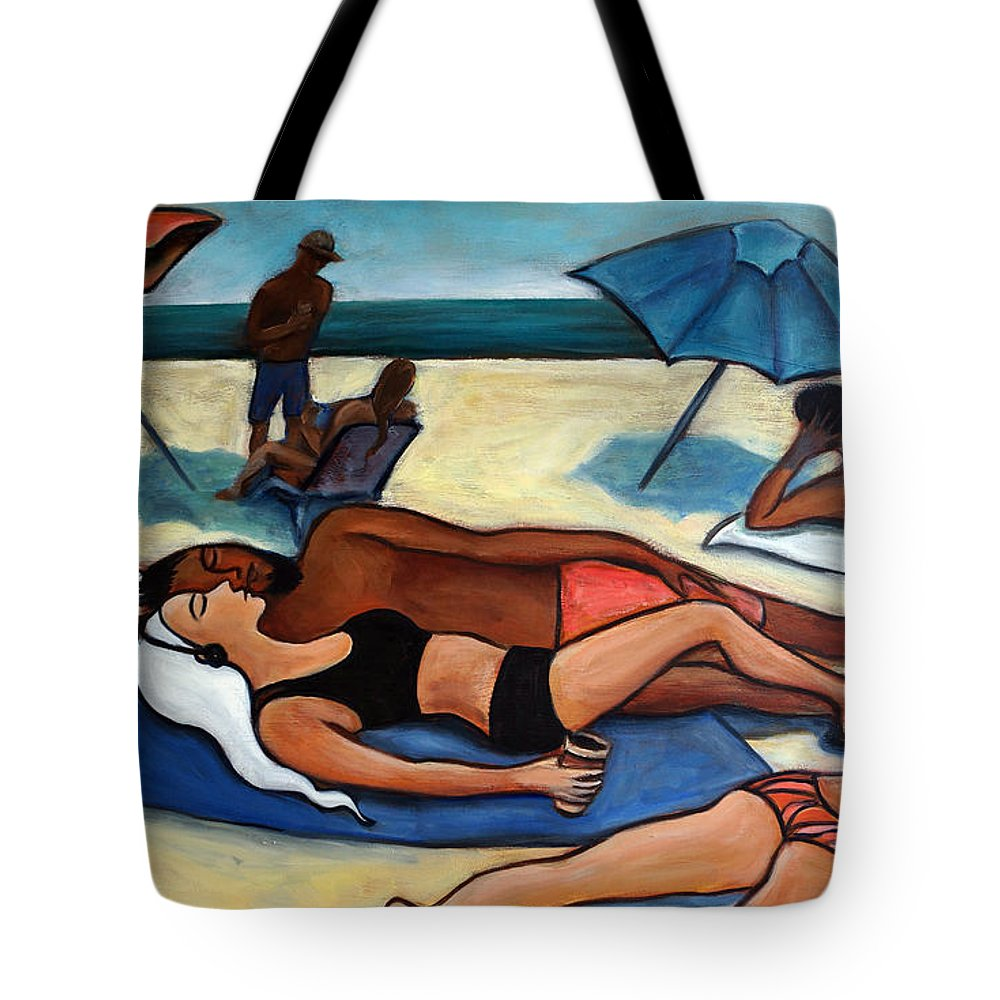 Beach Scene Tote Bag featuring the painting Un Journee A La Plage by Valerie Vescovi