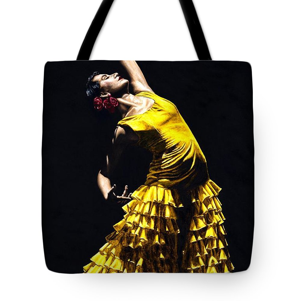 Flamenco Tote Bag featuring the painting Un Momento Intenso Del Flamenco by Richard Young