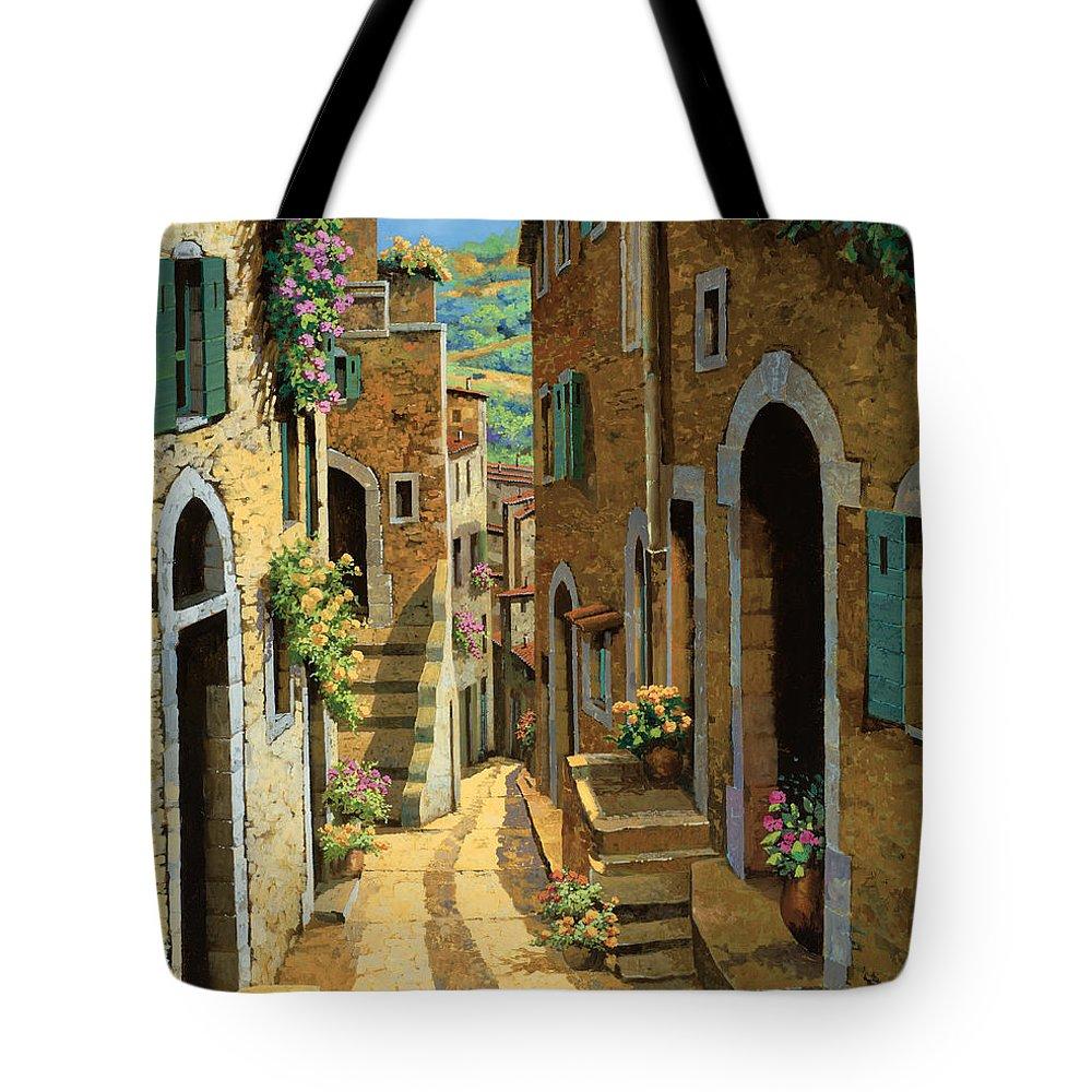 Village Tote Bag featuring the painting Un Passaggio Tra Le Case by Guido Borelli