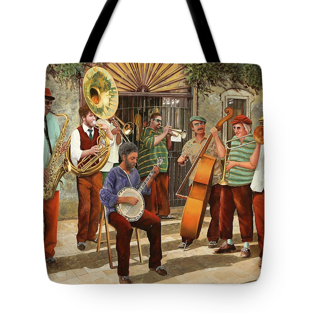 Jazz Tote Bag featuring the painting Un Po' Di Jazz by Guido Borelli