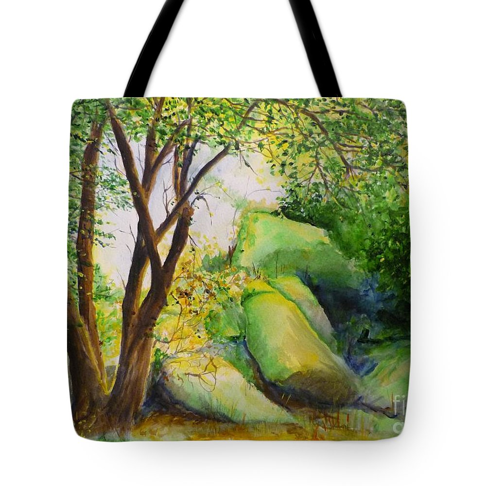 Wood Tote Bag featuring the painting Un Rincon En El Valle De Los Suenos by Lizzy Forrester