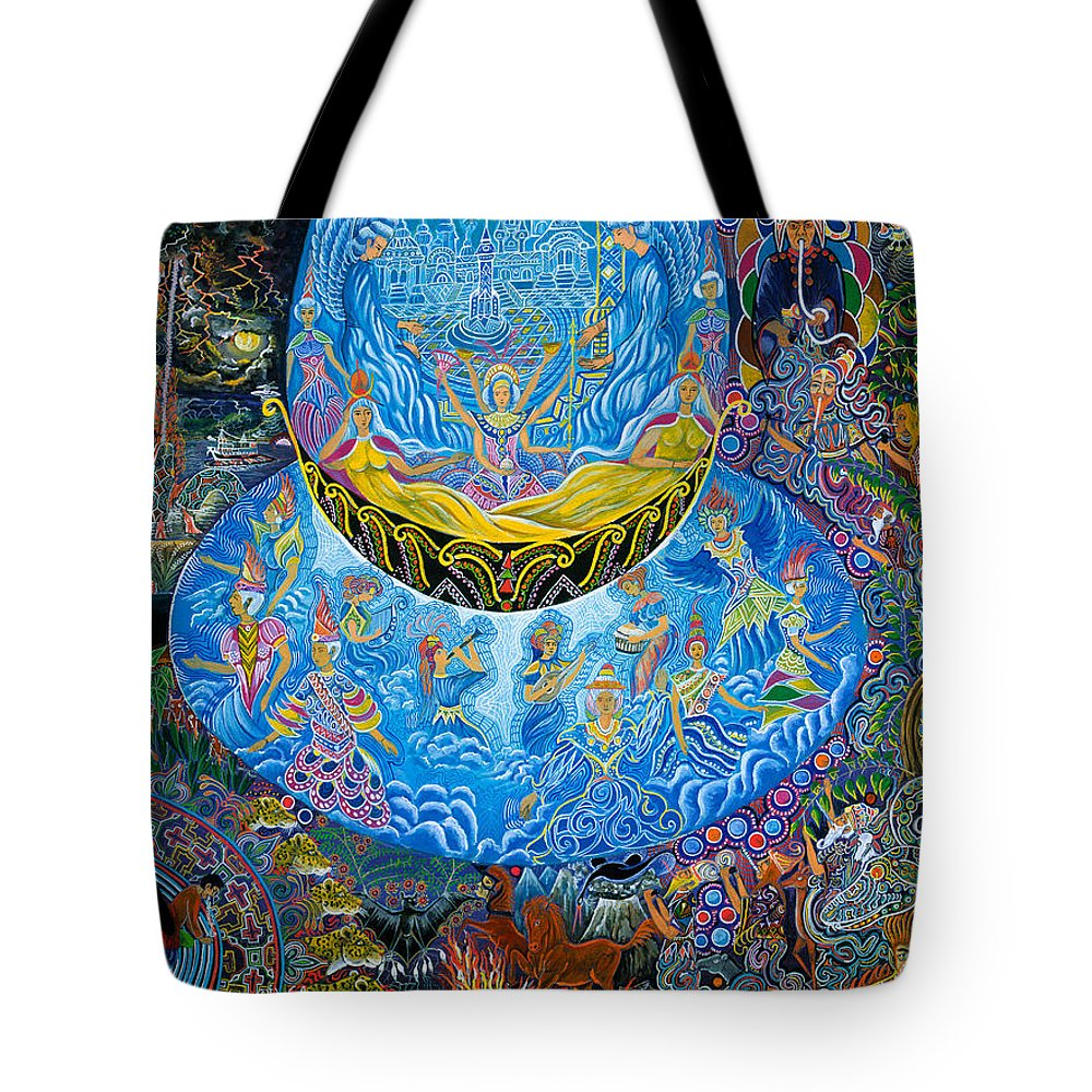 Pablo Amaringo Tote Bag featuring the painting Unai Shipash by Pablo Amaringo