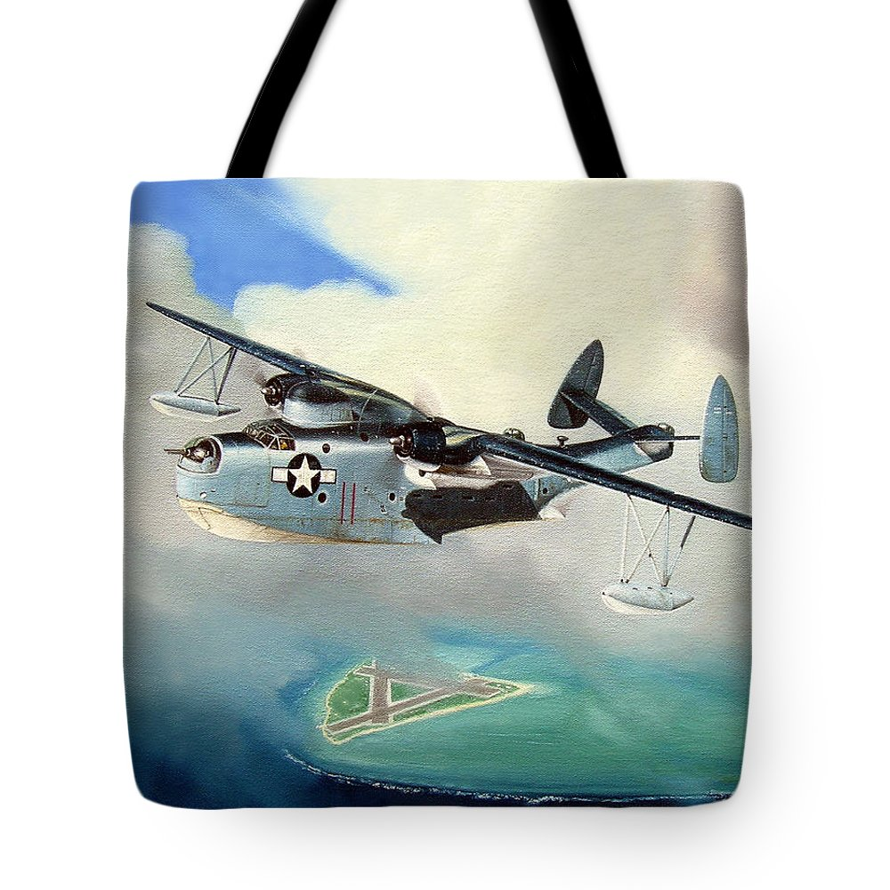 Military Tote Bag featuring the painting Uncle Bubba's Flying Boat by Marc Stewart