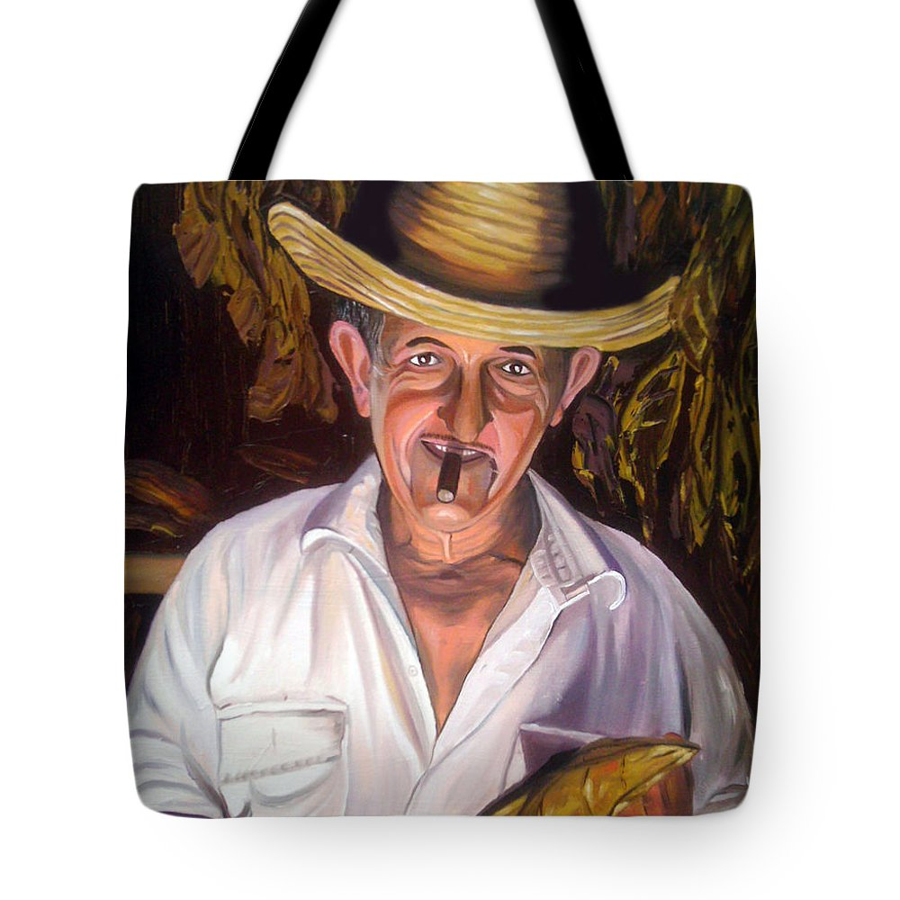 Cuban Art Tote Bag featuring the painting Uncle Frank by Jose Manuel Abraham