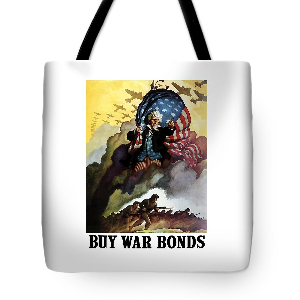 Uncle Sam Tote Bag featuring the painting Uncle Sam - Buy War Bonds by War Is Hell Store