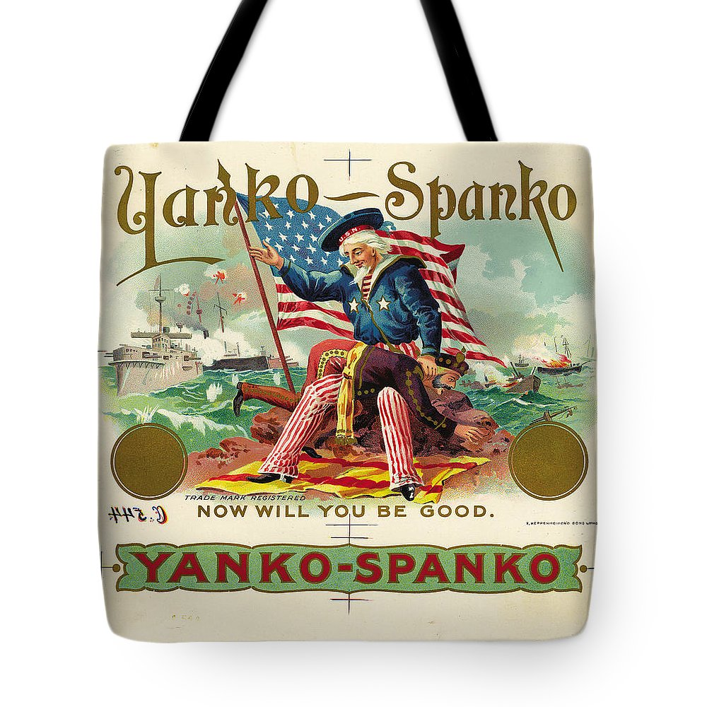 Uncle Sam Tote Bag featuring the digital art Uncle Sam Cigar Label by Marianne Dow
