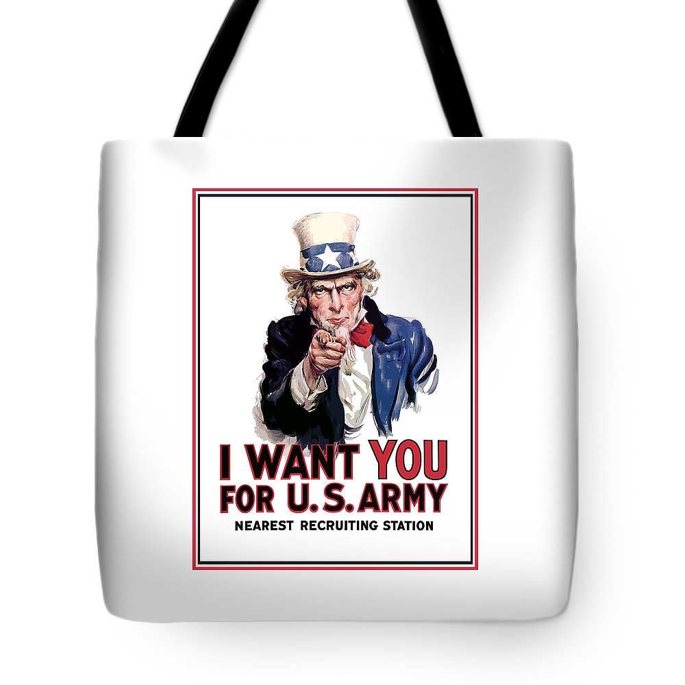Ww2 Tote Bag featuring the painting Uncle Sam -- I Want You by War Is Hell Store