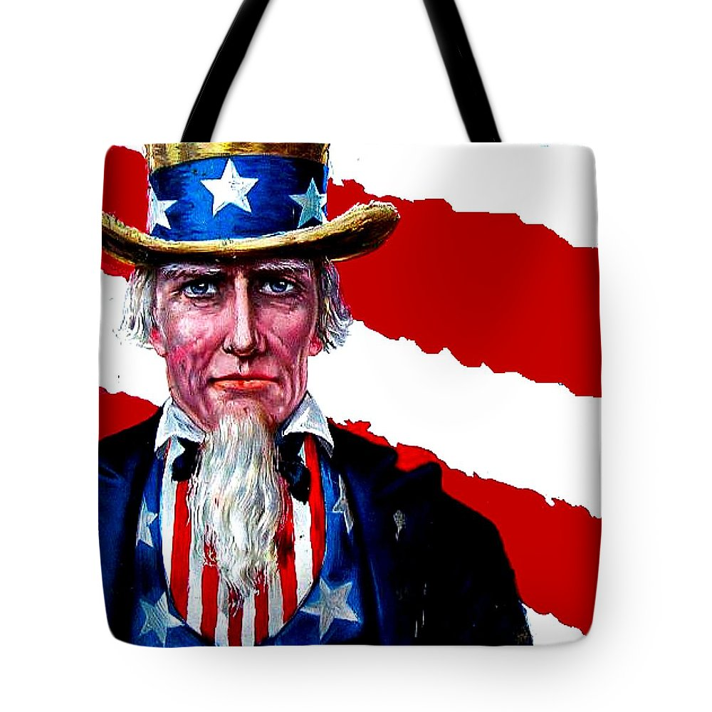 Uncle Sam Tote Bag featuring the digital art Uncle Sam by Marianne Dow