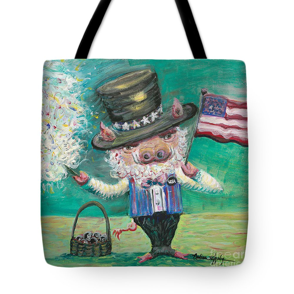 Fourth Of July Tote Bag featuring the painting Uncle Spam by Nadine Rippelmeyer