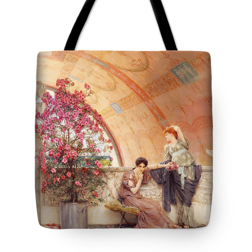 Unconscious Tote Bag featuring the painting Unconscious Rivals by Sir Lawrence Alma Tadema