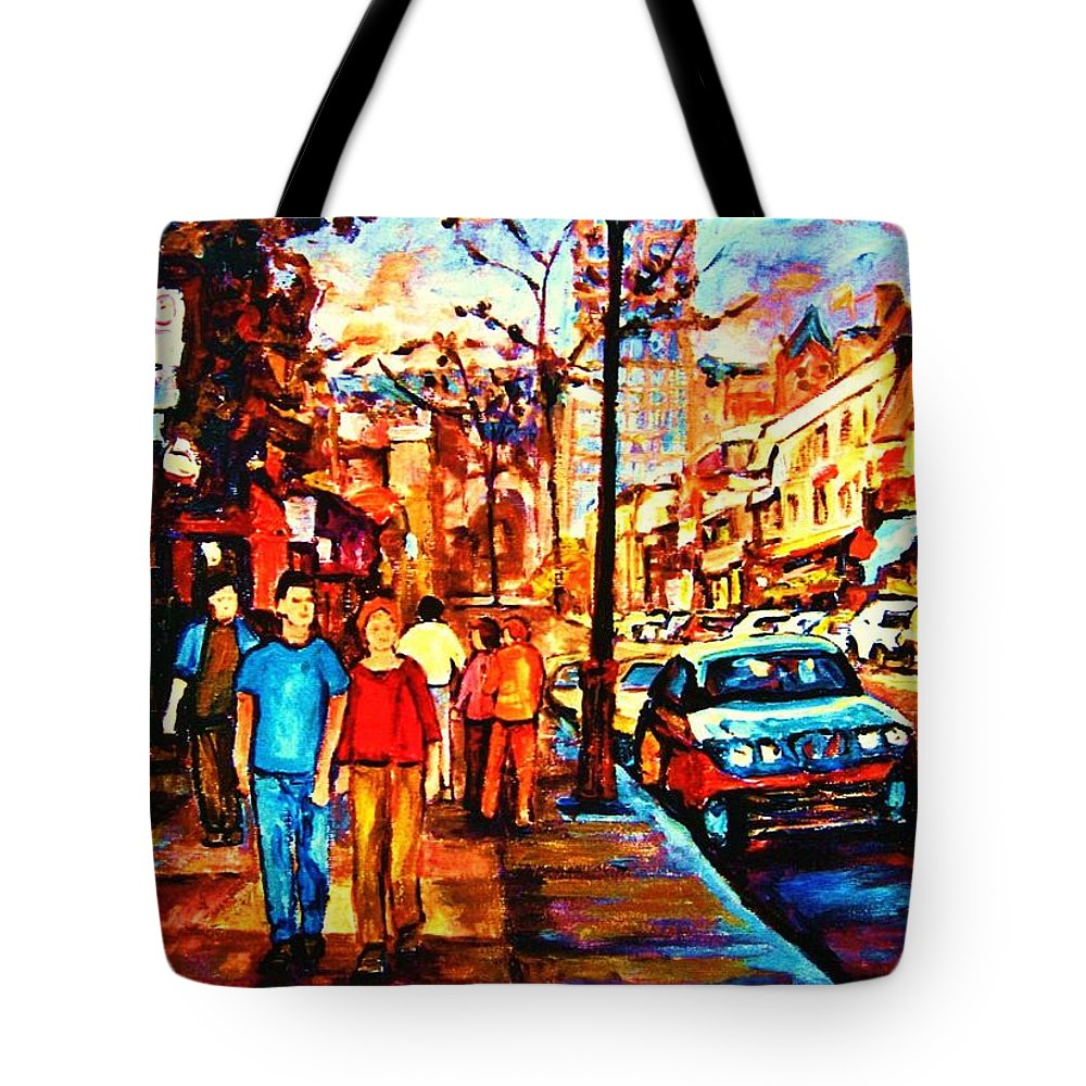 Montrealstreetscene Tote Bag featuring the painting Under A Crescent Moon by Carole Spandau