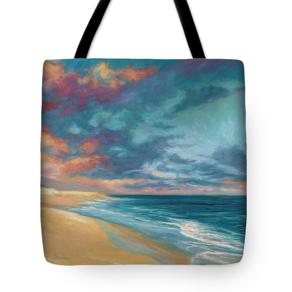 Ocean Tote Bag featuring the painting Under A Painted Sky by Lucie Bilodeau
