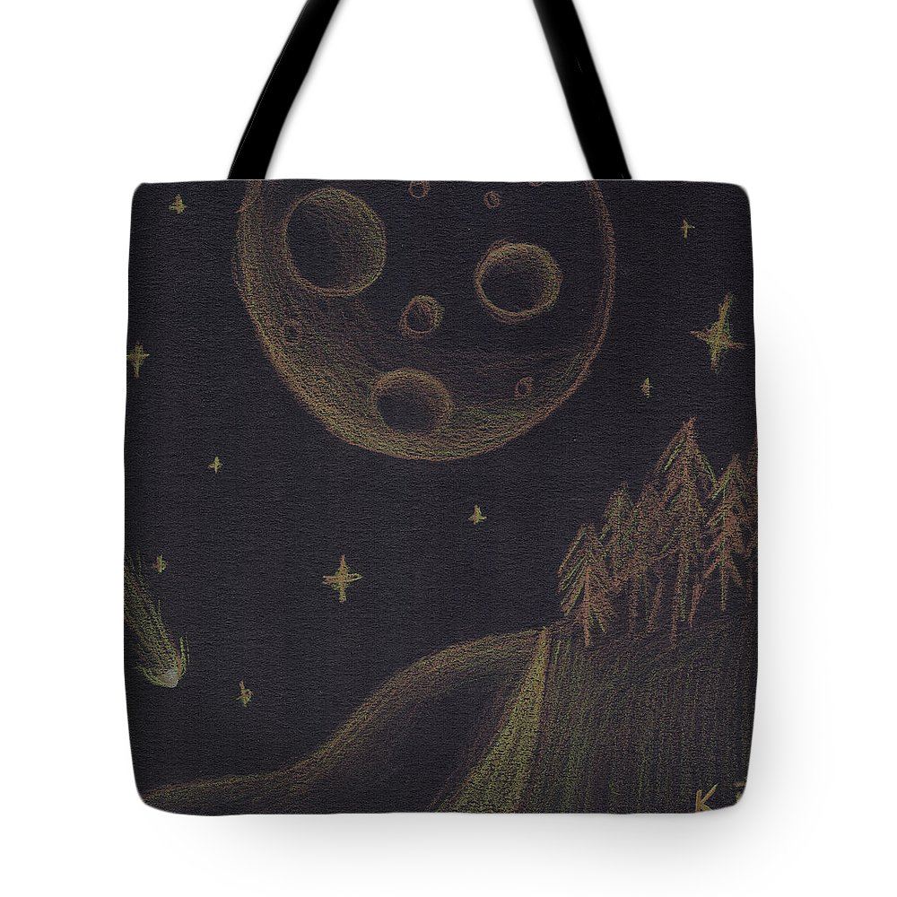 Inverse Tote Bag featuring the mixed media Under Alien Atars by Kitty Perkins