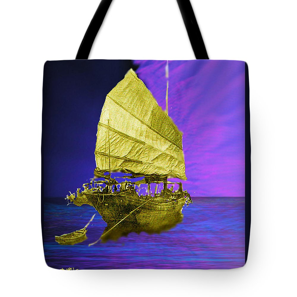 Nautical Tote Bag featuring the digital art Under Golden Sails by Seth Weaver
