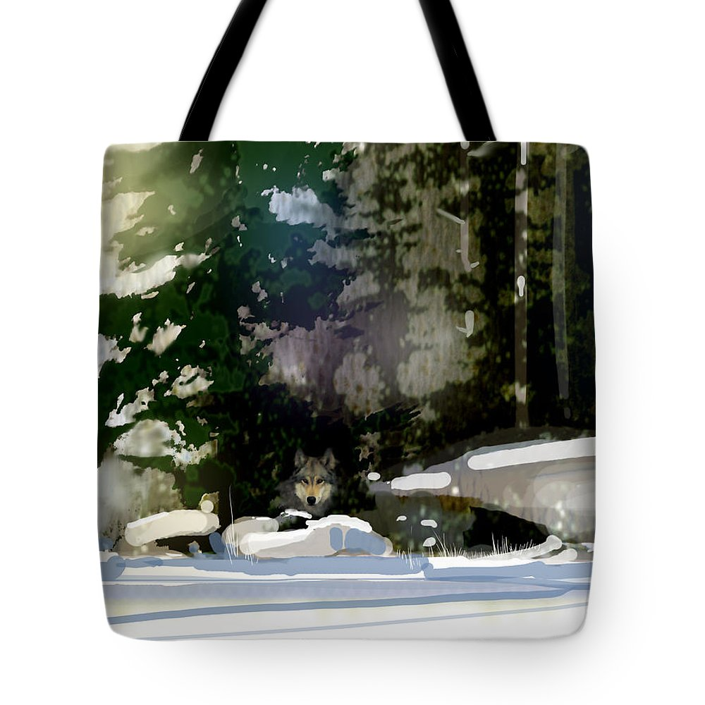 Wolf Tote Bag featuring the painting Under Surveillance by Paul Sachtleben