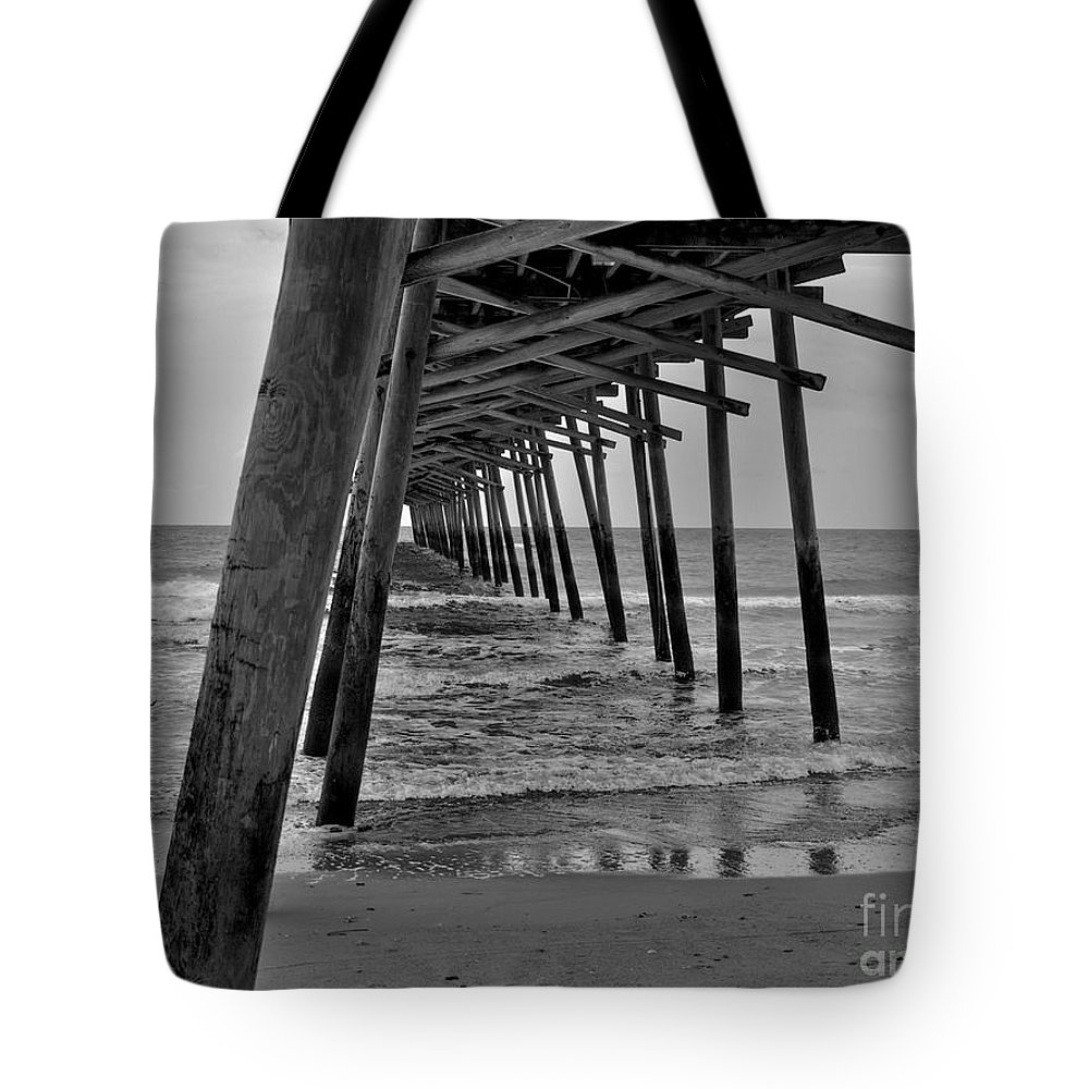 Pier Tote Bag featuring the photograph Under The Boardwalk Alantic Beaches Nc by Tommy Anderson
