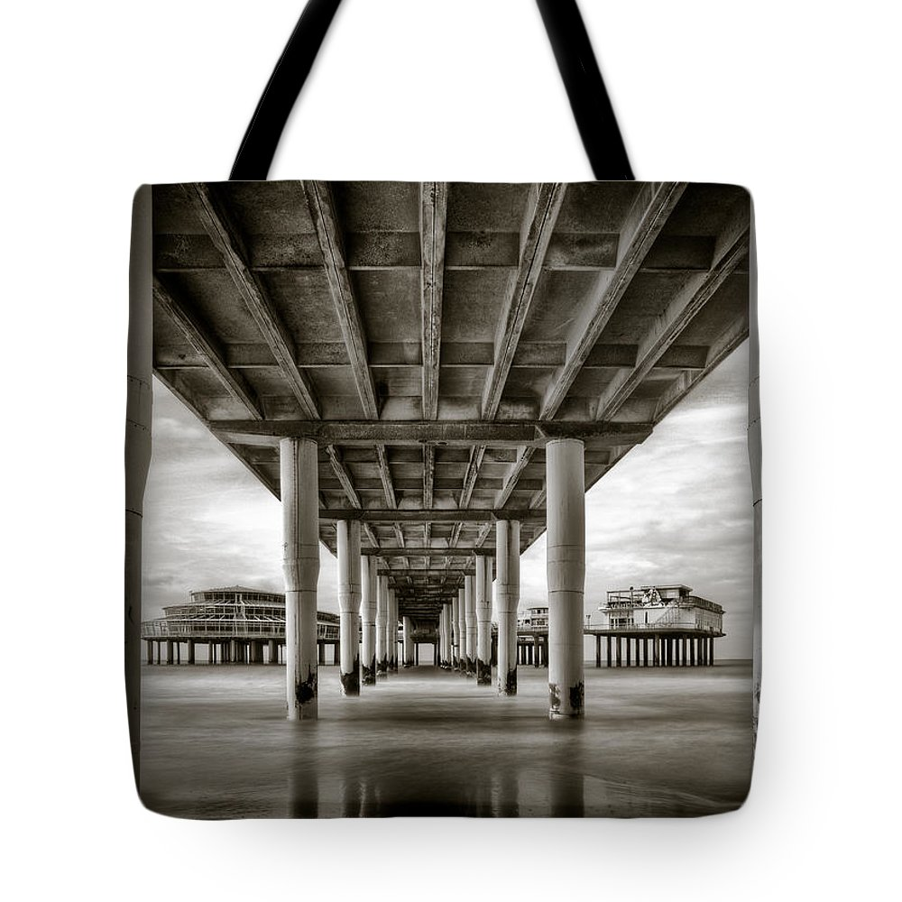 Pier Tote Bag featuring the photograph Under The Boardwalk by Dave Bowman