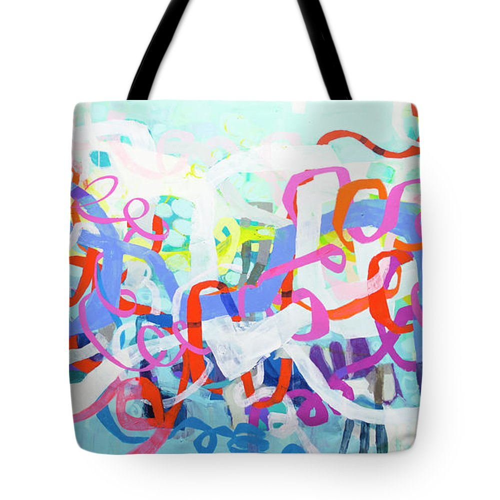 Abstract Tote Bag featuring the painting Under The Electric Candelabra by Claire Desjardins