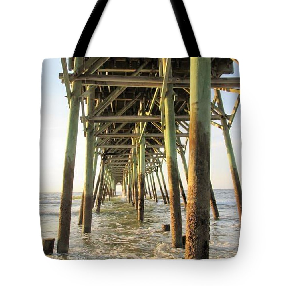 Ocean Tote Bag featuring the photograph Under The Pier by Jeanette Conrad