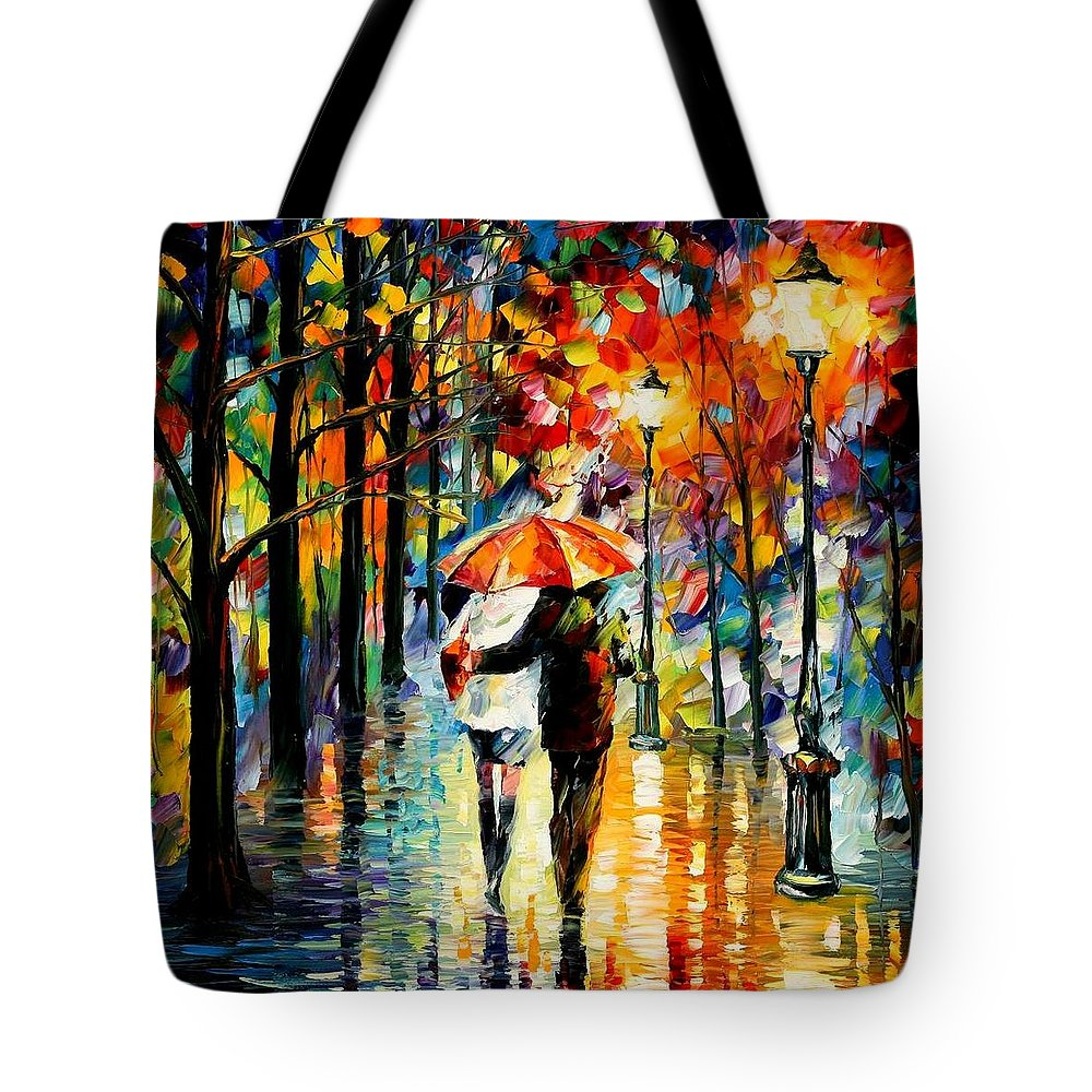 Afremov Tote Bag featuring the painting Under The Red Umbrella by Leonid Afremov