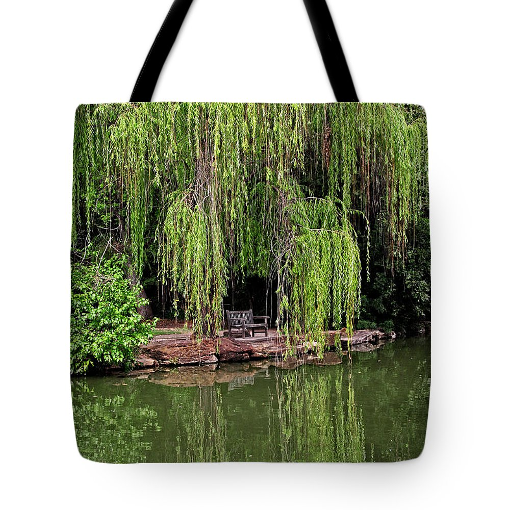 Landscapes Tote Bag featuring the photograph Under The Willows 7758 by Earl Johnson