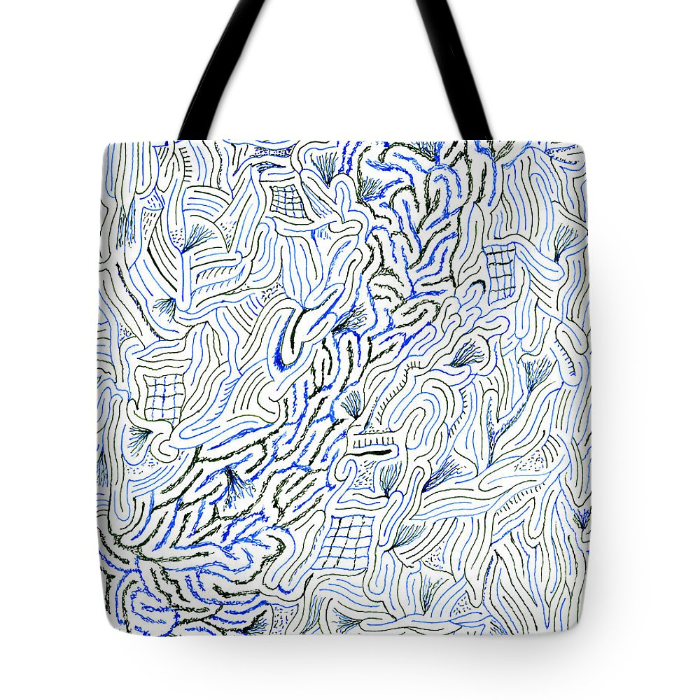 Mazes Tote Bag featuring the drawing Undercurrent by Steven Natanson