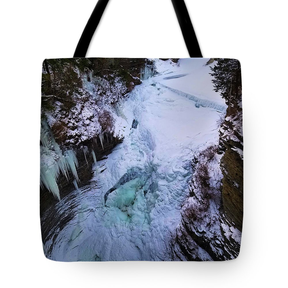 Frozen Winter Tote Bag featuring the photograph Underfall by Kelly Cullen