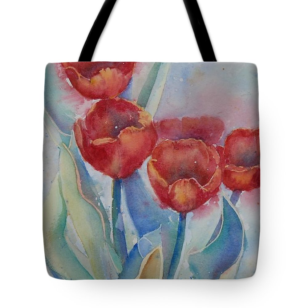 Flowers Tote Bag featuring the painting Undersea Tulips by Ruth Kamenev