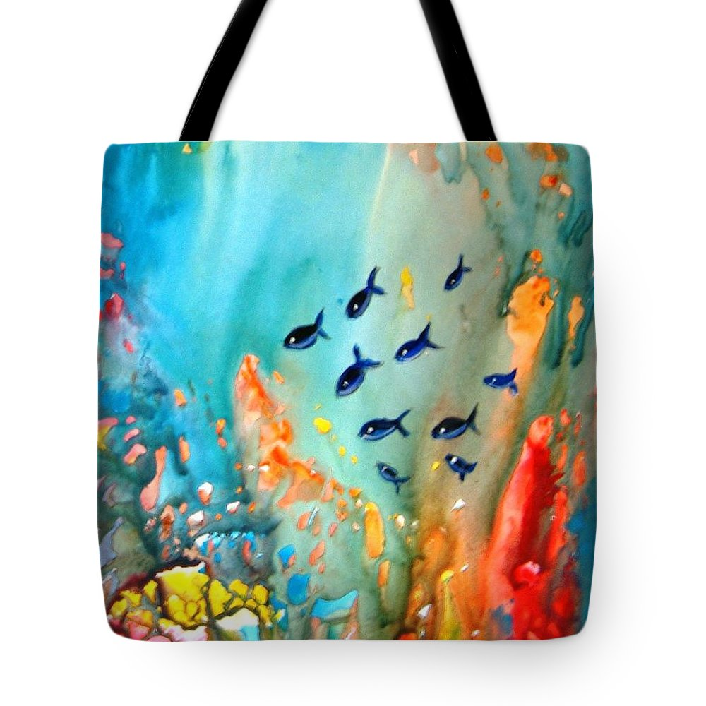 Fish Water Magic Under Coral Reef Sunlight Blue Red Orange Green Yupo Paper Sunlight Rocks Tote Bag featuring the painting Underwater Magic by Manjiri Kanvinde