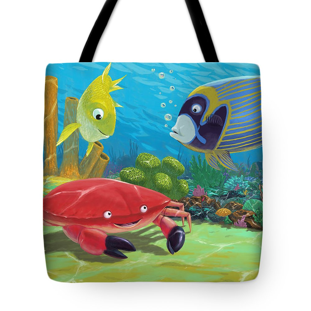 Ocean Tote Bag featuring the painting Underwater Sea Friends by Martin Davey