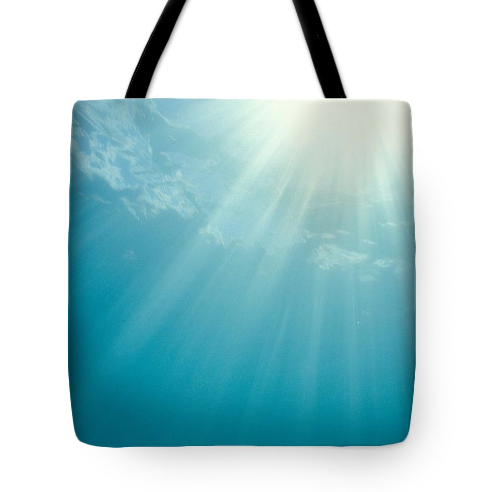 Air Art Tote Bag featuring the photograph Underwater Sunrays by Mary Van de Ven - Printscapes