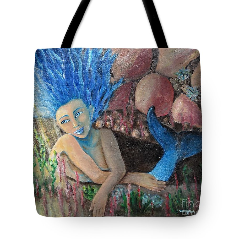 Mermaid Tote Bag featuring the painting Underwater Wondering by Laurie Morgan