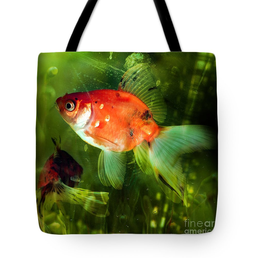 Goldfish Tote Bag featuring the photograph Underwater World by Angel Ciesniarska