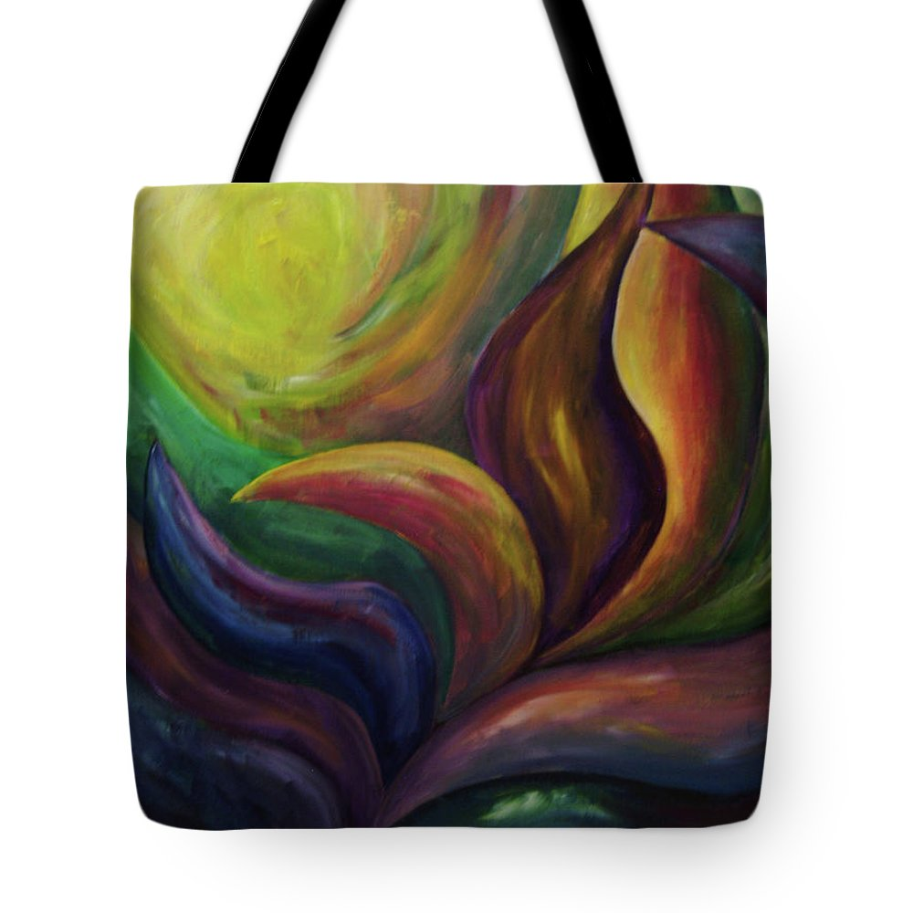 Transformation Tote Bag featuring the painting Unfolding by Ellen Eschwege