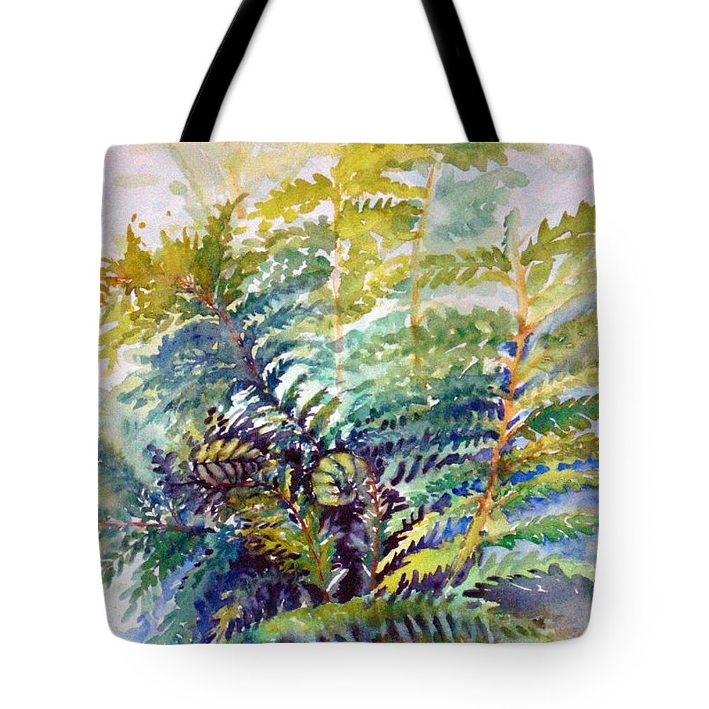 Ferns Tote Bag featuring the painting Unfurling Ferns by Kathy Sturr