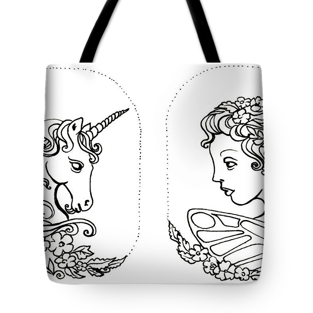 Unicorn Tote Bag featuring the drawing Unicorn And Fairy Cameo Set by Katherine Nutt