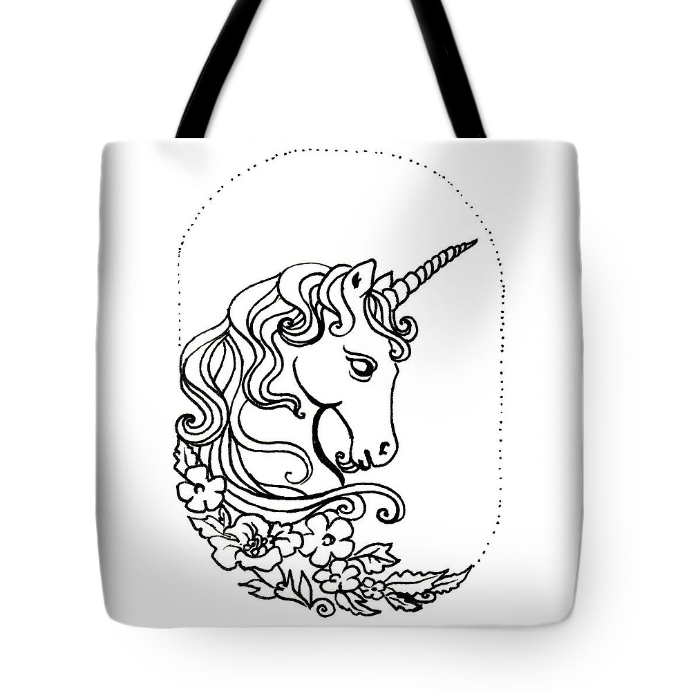 Unicorn Tote Bag featuring the drawing Unicorn Cameo by Katherine Nutt