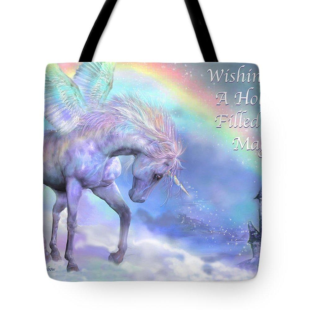 Unicorn Tote Bag featuring the mixed media Unicorn Of The Rainbow Card by Carol Cavalaris